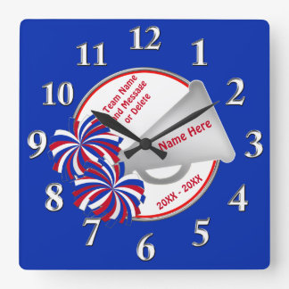 Red White and Blue Cheer Gifts for Cheerleaders Square Wall Clock