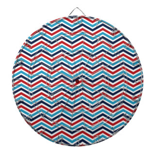 Red, White, and Blue Chevron Pattern Dartboard With Darts