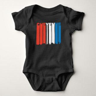Red White And Blue Cheyenne Wyoming Skyline Baby Bodysuit