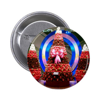 Red white and blue Christmas trees Buttons
