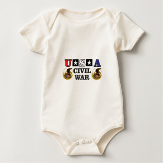 red white and blue civil war baby bodysuit