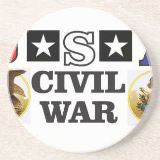 red white and blue civil war sandstone coaster