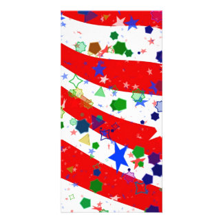 Red White and Blue Confetti Photo Card Template