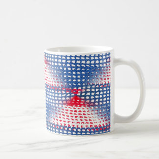 Red White and Blue Crocheted Look on Coffee Mug