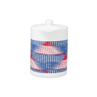 Red White and Blue Crocheted Look on Teapot