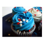 Red, white and blue cupcakes postcard