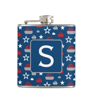 Red, White and Blue Curling Flask with Monogram