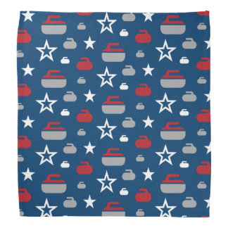 Red, White and Blue Curling Rocks Bandana