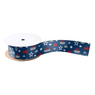 Red, White and Blue Curling Rocks Ribbon Satin Ribbon