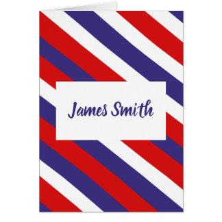 Red White and Blue Diagonal Stripe Monogram Card