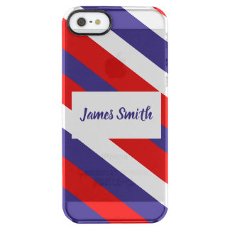 Red White and Blue Diagonal Stripe Monogram Clear iPhone SE/5/5s Case