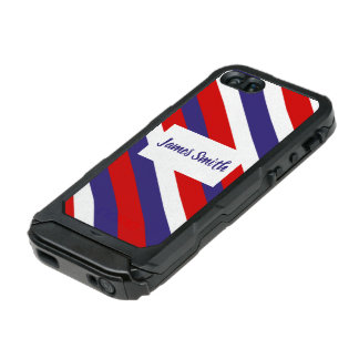 Red White and Blue Diagonal Stripe Monogram Incipio ATLAS ID™ iPhone 5 Case