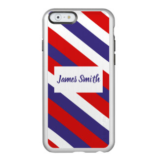 Red White and Blue Diagonal Stripe Monogram Incipio Feather® Shine iPhone 6 Case