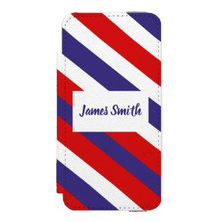 Red White and Blue Diagonal Stripe Monogram Incipio Watson™ iPhone 5 Wallet Case