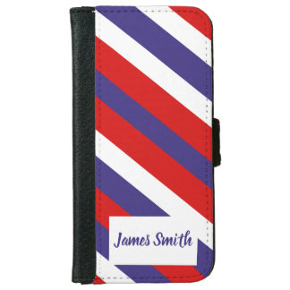 Red White and Blue Diagonal Stripe Monogram iPhone 6 Wallet Case