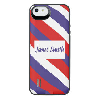 Red White and Blue Diagonal Stripe Monogram iPhone SE/5/5s Battery Case
