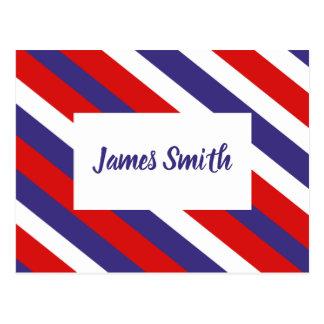 Red White and Blue Diagonal Stripe Monogram Postcard