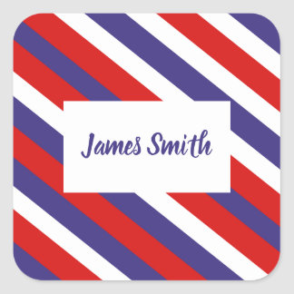 Red White and Blue Diagonal Stripe Monogram Square Sticker