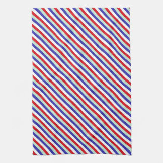 Red, White, and Blue Diagonal Stripes Tea Towel