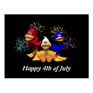 Red, White and Blue Ducks Postcard