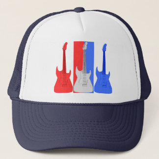 Red White and Blue Electric Guitars Hat