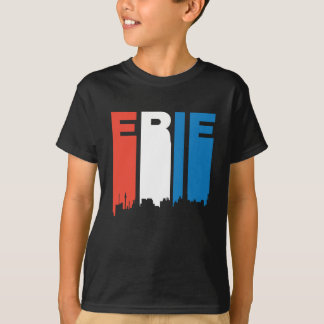 Red White And Blue Erie Pennsylvania Skyline T-Shirt