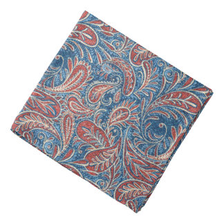 Red, White and Blue Faux Denim Paisley Bandana