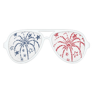 Red White and Blue Fireworks Party Sunglasses