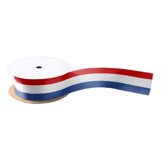 Red white and blue flag color satin ribbon spool