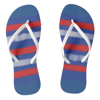 Red, White, and Blue flip flops Thongs