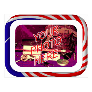 Red White and Blue Frame Postcard