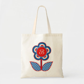 Red, White and Blue Freedom Flower Canvas Bag