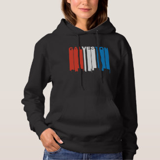Red White And Blue Galveston Texas Skyline Hoodie