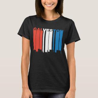 Red White And Blue Galveston Texas Skyline T-Shirt