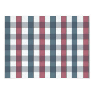 Red White and Blue Gingham Plaid 5.5x7.5 Paper Invitation Card