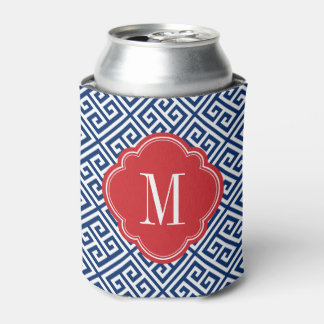 Red White and Blue Greek Key Monogram Can Cooler