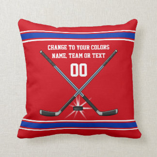 Red White and Blue Hockey Pillow for Hockey Player