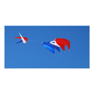 Red, White, And Blue Kite Customized Photo Card