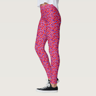 Red White and Blue Leopard Print Leggings