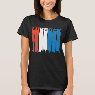 Red White And Blue Lubbock Texas Skyline T-Shirt