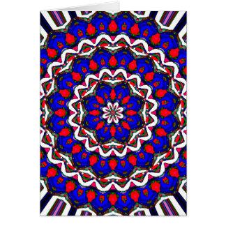 Red White And Blue Mandala Greeting Card