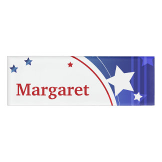 Red, White, and Blue Name Tag