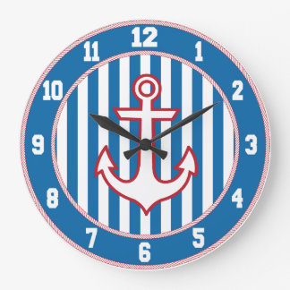Red White and Blue Nautical Anchor Clock