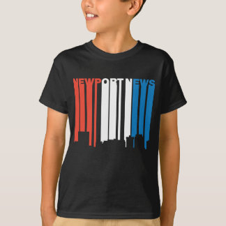 Red White And Blue Newport News Virginia Skyline T-Shirt