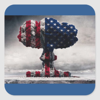 red white AND BLUE nuke Square Sticker