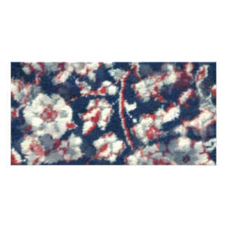 red white and blue oriental cotten carpet customized photo card
