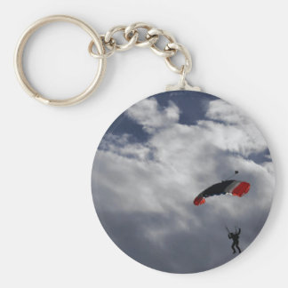 Red white and Blue Parachute with clouds Basic Round Button Key Ring
