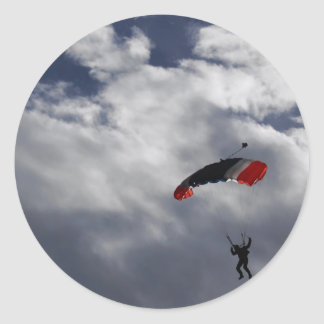 Red white and Blue Parachute with clouds Round Sticker