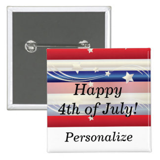 Red, White and Blue Patriotic 15 Cm Square Badge