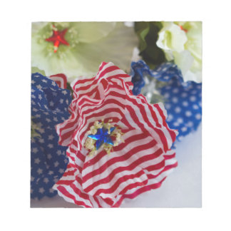 Red White and Blue Patriotic American Flag Bouquet Notepad